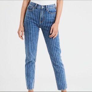 American eagle pin stripe mom jeans
